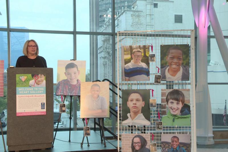 DCS Director Mary Beth Bonaventura speaks at an event launching Adoption Month and featuring the Heart Gallery. (Jill Sheridan/IPB News)