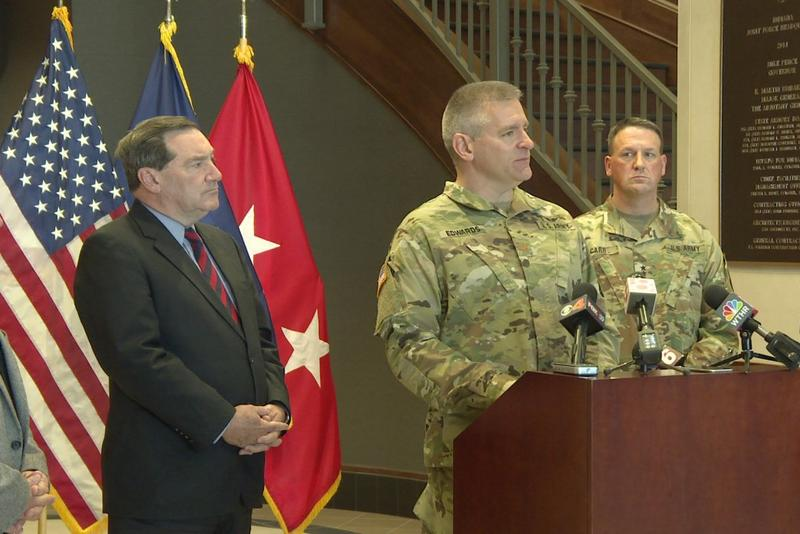 Major Scott Edwards speaks at the Indiana National Guard. (Jill Sheridan/IPB News)