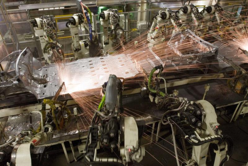 Robots assemble a vehicle at Toyota Motor Manufacturing Indiana in Princeton. (Courtesy TMMI)