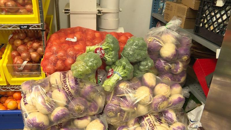 Fresh produce at Merciful Help Center pantry in Carmel. (Jill Sheridan/IPB News)