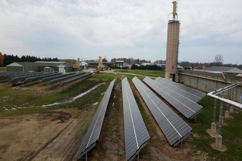 A solar array at Wible Lumber near Avilla, IN (Photo courtesy of Eric Hesher/Renewable Energy Systems)