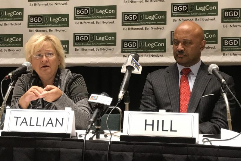 Sen. Karen Tallian (D-Portage) and Attorney General Curtis Hill (R-Ind.) debated marijuana policy at a conference Wednesday. (Brandon Smith/IPB News)