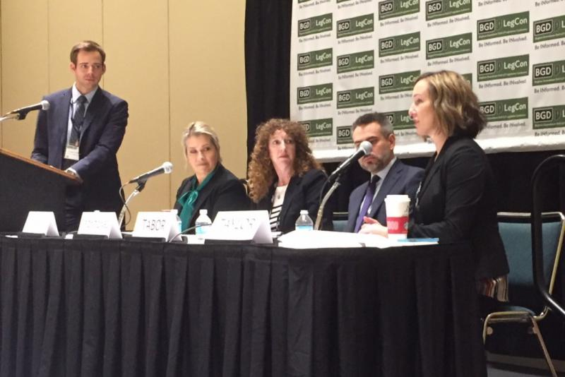 Indiana public health leaders join a panel at the annual BGD Legislative Conference. (Jill Sheridan/IPB News)
