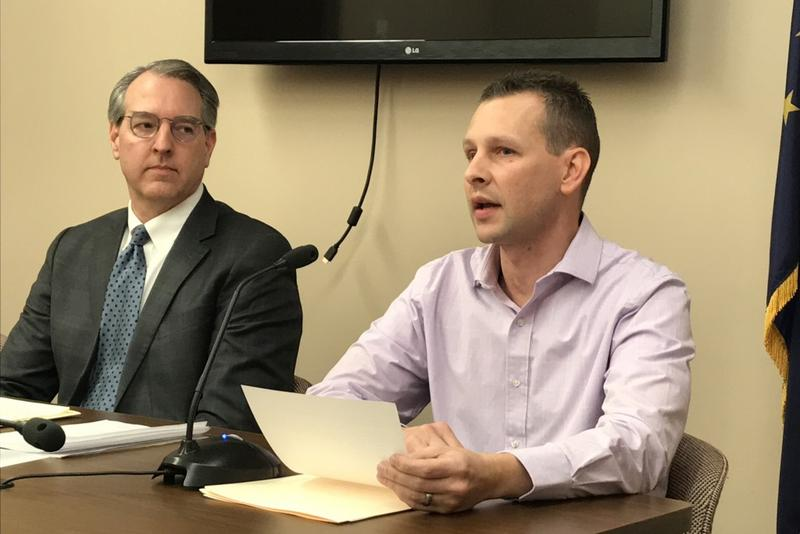 Rep. Matt Pierce (D-Bloomington) looks on as Brownsburg resident Corey Polen, who suffers from ALS, discusses Pierce's assisted suicide bill. (Brandon Smith/IPB News)