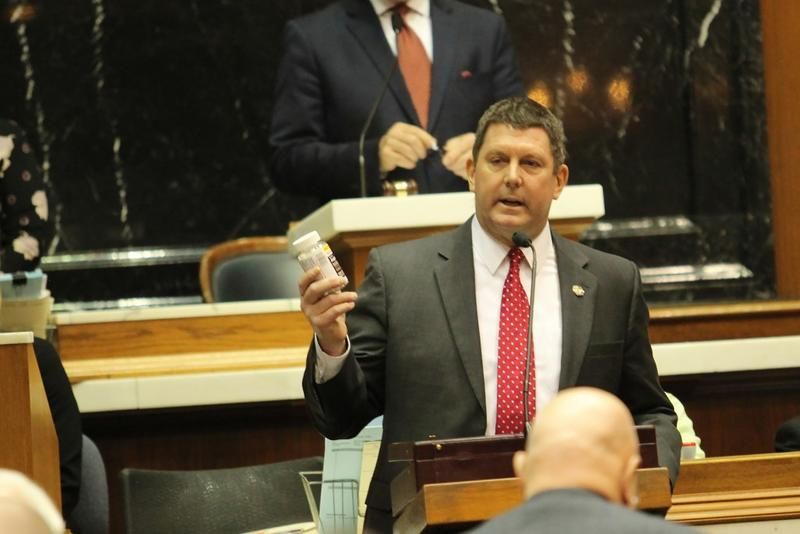 Rep. Jim Lucas (R-Seymour) speaks on the House floor about his desire to legalize medical marijuana. (Lauren Chapman/IPB News)