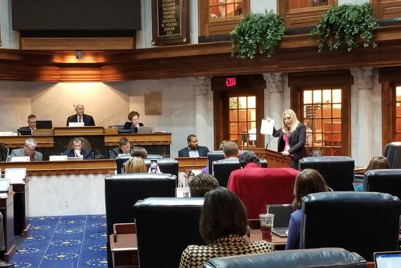 Sen. Erin Houchin addresses the Senate Education and Career Development committee about her bill. (Jeanie Lindsay/IPB News)