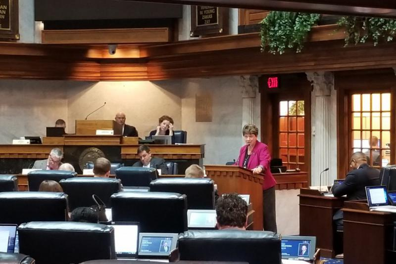 Sen. Jean Leising addresses the Senate Committee on Education and Career Development about her cursive writing bill. (Jeanie Lindsay/IPB News)