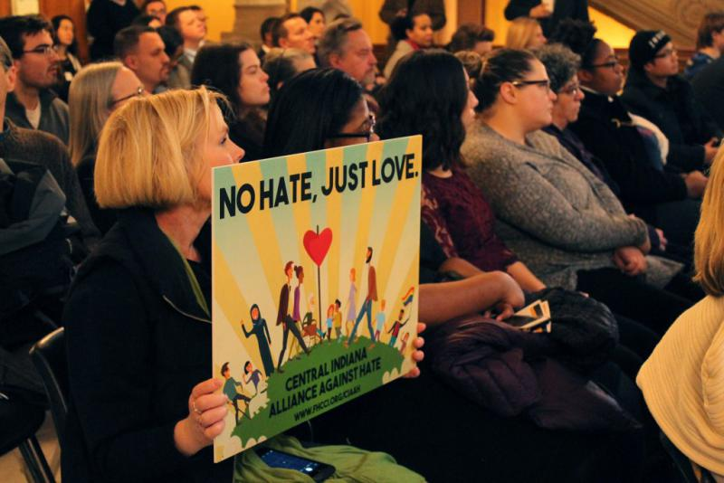The Central Indiana Alliance Against Hate gathered at the statehouse to call for hate crimes legislation. (Lauren Chapman/IPB News)