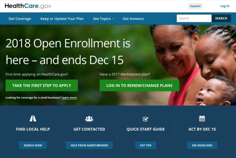 (Screenshot heathcare.gov)