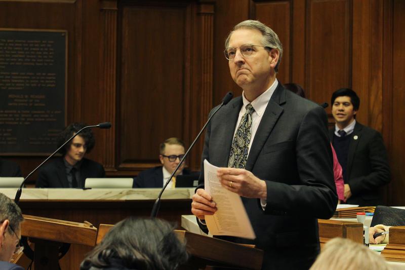 Rep. Matt Pierce (D-Bloomington) says CBD regulations are burdensome and will drive up the cost for Hoosiers. (Lauren Chapman/IPB News)