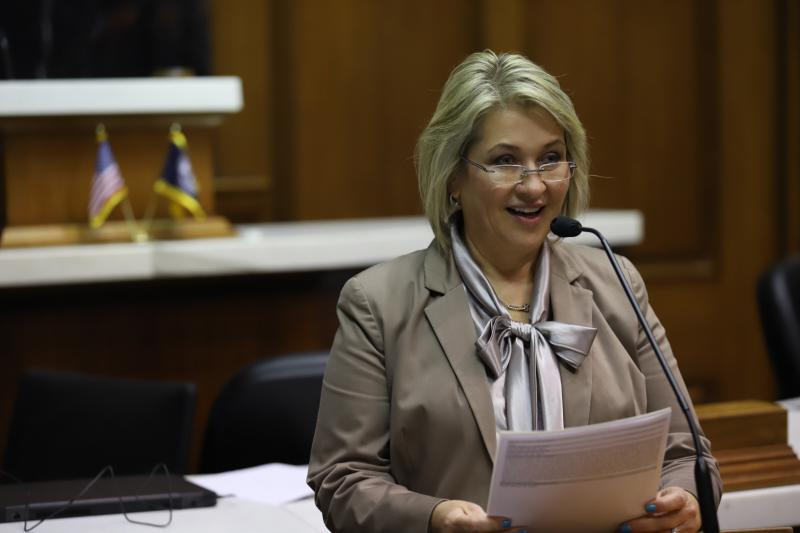 Rep. Cindy Kirchhofer presents HEA 1017 to the House. (Photo courtesy of Kirchhofer's office)