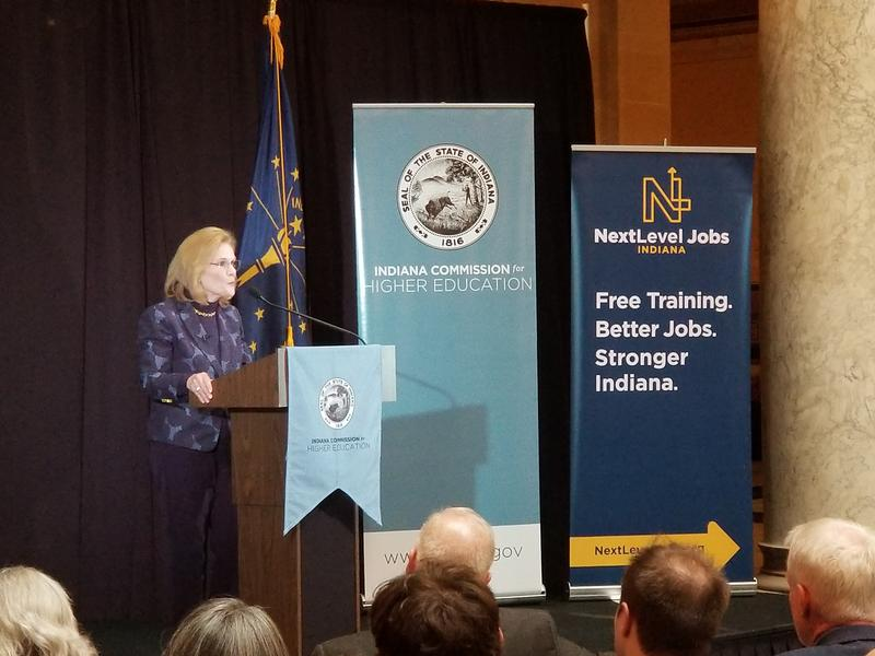 Indiana Commissioner for Higher Education Teresa Lubbers speaks at an annual event in the statehouse. (Jeanie Lindsay/IPB News)