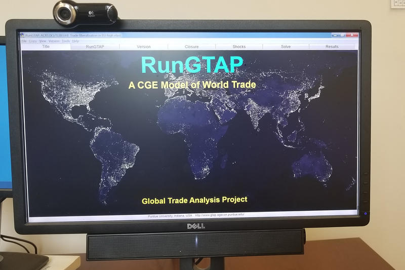 Thomas Hertel demonstrates the Global Trade Analysis Project Model, referred to as GTAP, which was used by the Trump Administration to create the recent steel tariffs. (Samantha Horton/IPB News)