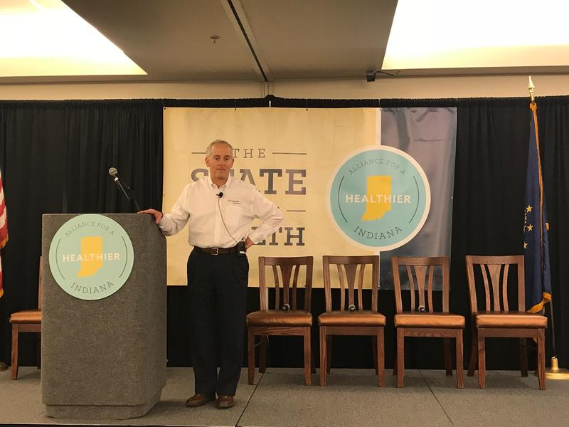 Community Health Network CEO and Alliance Chairman Bryan Mills addresses the State of Our Health summit in Indianapolis. (Alliance for a Healthier Indiana)
