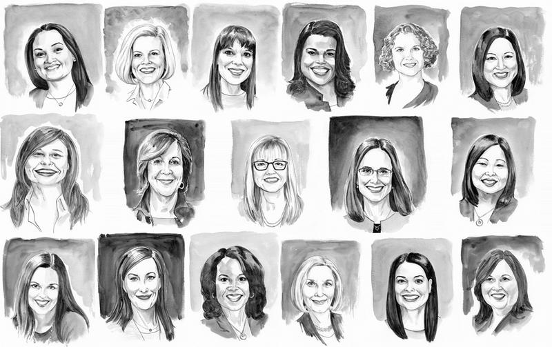 Illustrations of women who shared their stories for No, My Place by Kerry Lester