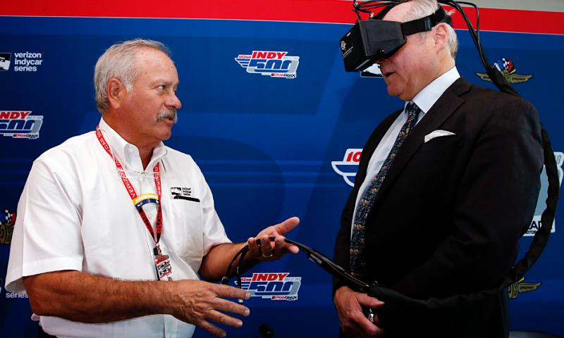 """The I-PAS """"goggle test"""" looks much like a virtual reality system. (Photo courtesy of INDYCAR)"""