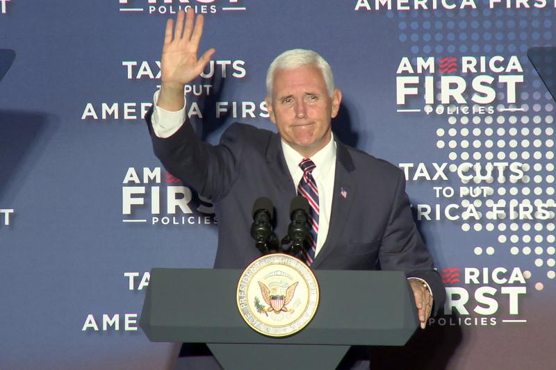 Vice President Mike Pence waves to a cheering crowd in Indianapolis. (Lauren Chapman/IPB News)