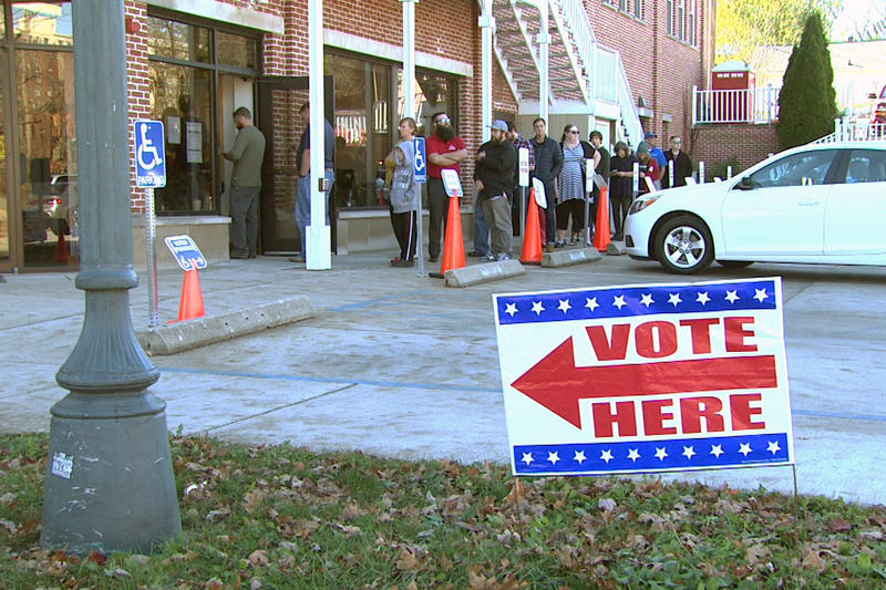 Voters in Bloomington line up for Election Day in 2016. (Steve Burns/WTIU)