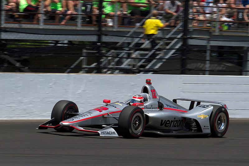 Will Power exits turn four during the 102nd running of the Indianapolis 500 on Sunday. (Doug Jaggers/WFYI News)