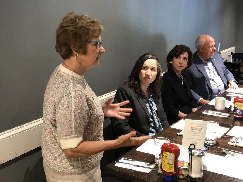 (From left) Secretary of State Connie Lawson, State Auditor Tera Klutz, and State Treasurer Kelly Mitchell meet with GOP delegates ahead of the state party convention. (Brandon Smith/IPB News)