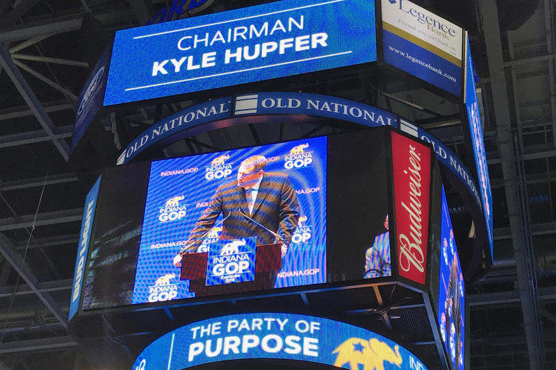 The video board at Evansville's Ford Center shows Indiana Republican Party Chair Kyle Hupfer as he speaks to his party's convention. (Brandon Smith/IPB News)