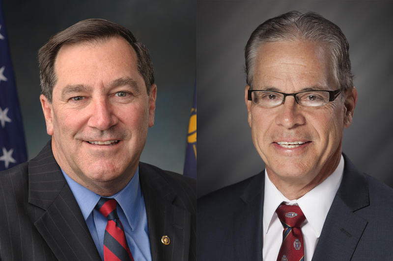 Sen. Joe Donnelly (D-Ind.), left, and Republican Senate candidate Mike Braun, right, don't agree on who's to blame for the Trump administration's family separation policy. (Photos courtesy of the U.S. Senate and the Indiana General Assembly)