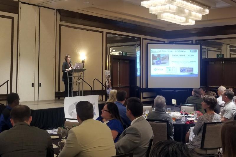 Adina Renee Adler presents the keynote address at the 2018 Indiana Recycling Conference. (Samantha Horton/IPB News)