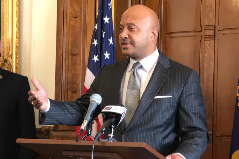 Indiana Attorney General Curtis Hill at a May 2017 press conference. (Brandon Smith/IPB News)