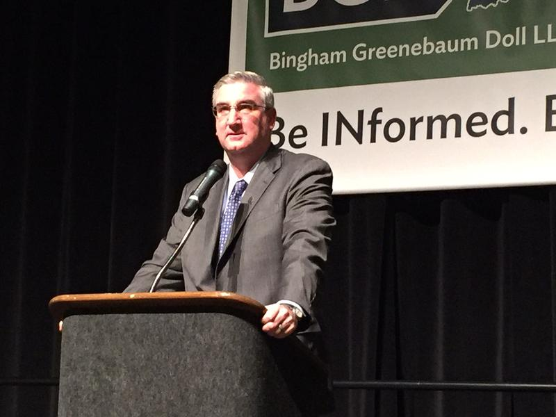 Gov. Eric Holcomb hasn't said anything about allegations Curtis Hill groped four women since Holcomb returned home to Indiana from a vacation. (Brandon Smith/IPB News)