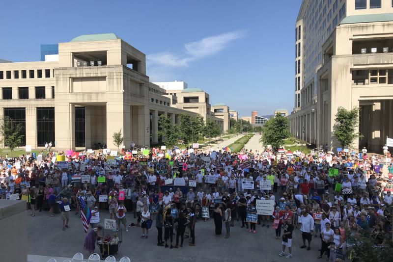Hundreds gathered outside the Indiana Statehouse to protest the Trump administration's immigration policies. (Brandon Smith/IPB News)
