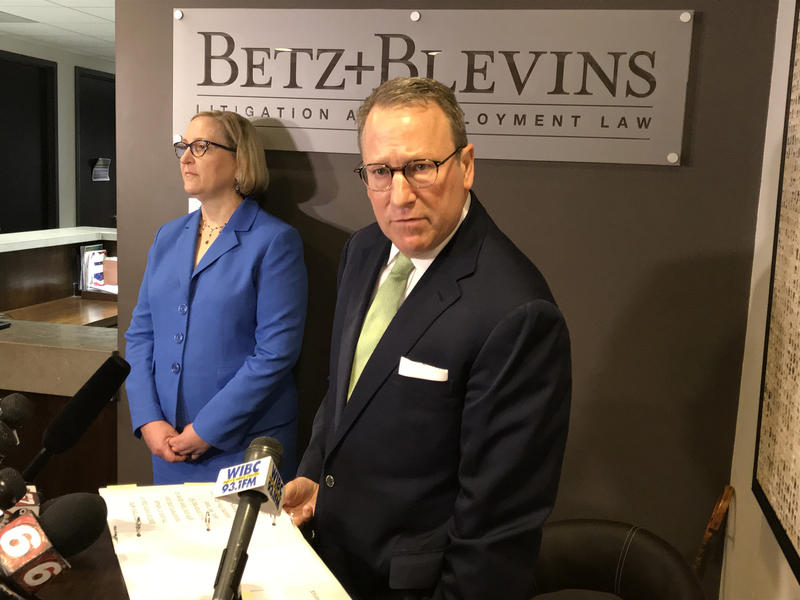 Attorneys Kevin Betz, right, and Sandra Blevins, left, sought to discredit parts of a leaked report that contains sexual misconduct allegations against Attorney General Curtis Hill. (Brandon Smith/IPB News)