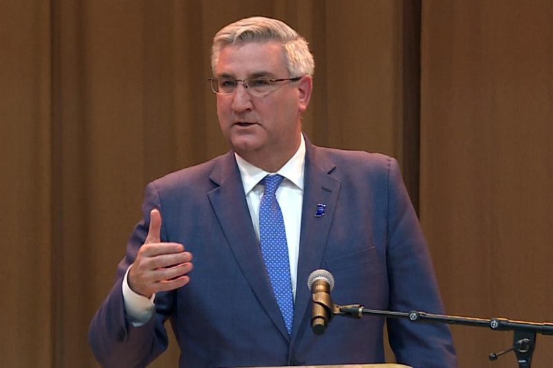 Gov. Eric Holcomb says he'll work to find consensus on hate crimes legislation. (Zach Herndon/WTIU)