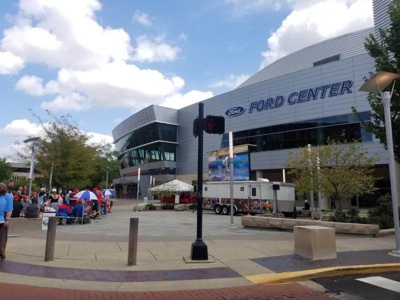 President Donald Trump will speak at the Ford Center in downtown Evansville, following a fundraiser. (@WNINNews/Twitter)