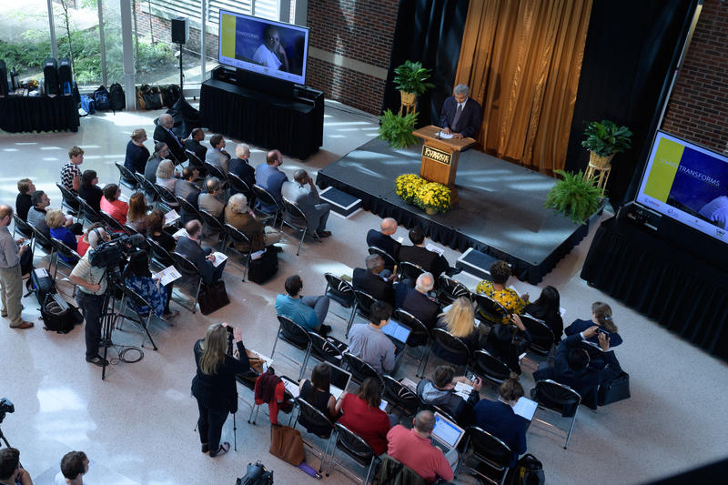 The announcement of the global health initiative was made at Purdue University. (Photo Purdue John Underwood)