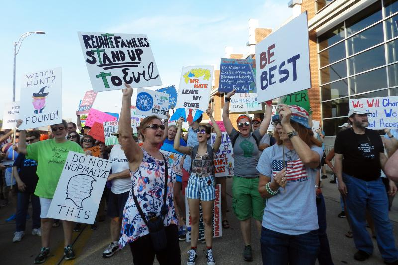 Hundreds of anti-Trump protesters gathered outside the Ford Center. (Michaela Tussey/WNIN)