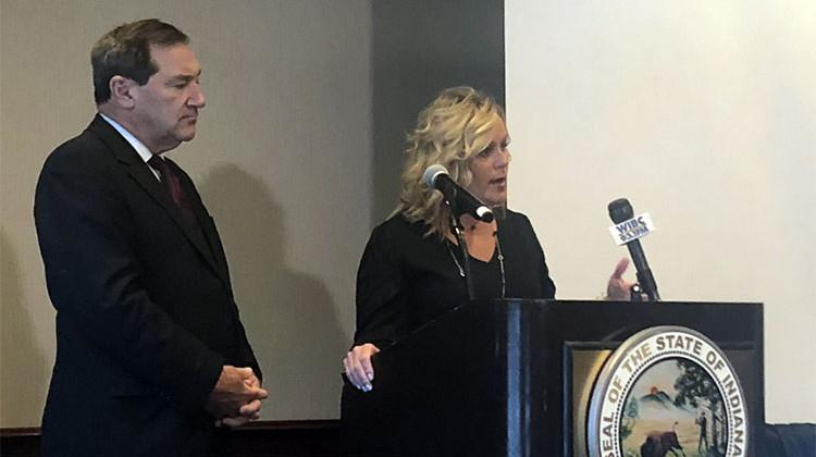 State Superintendent of Public Instruction Jennifer McCormick (R) and U.S. Sen. Joe Donnelly (D-Ind.) talk school safety during a press conference Monday.