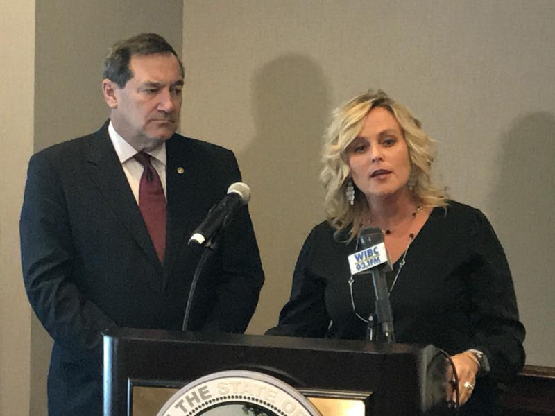 Sen. Joe Donnelly (D-Ind.) and State Supt. Jennifer McCormick discuss school safety issues at a conference in Indianapolis. (Brandon Smith/IPB News)