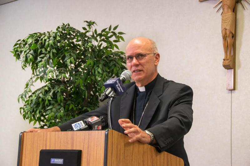 Bishop Kevin Rhoades at a recent press conference in Fort Wayne regarding the Pennsylvania grand jury report on child sex abuse in the Catholic Church.