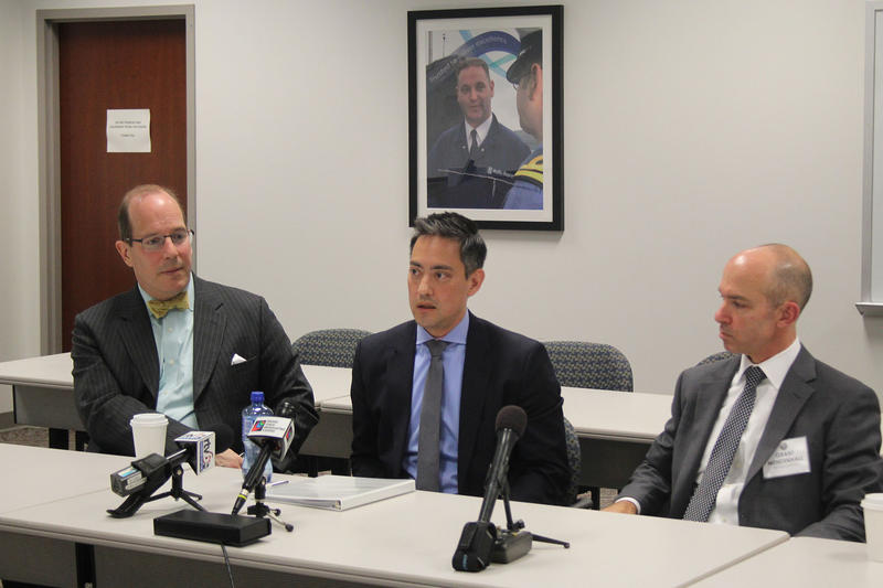 Assistant Secretary of State Dr. Chris Ford, Department of Commerce Special Agent Dan Clutch, and FBI Special Agent Grant Mendenhall answer media questions on economic espionage. (Samantha Horton/IPB News)