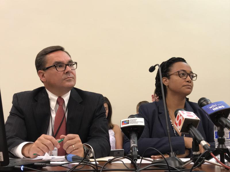 DCS Associate Director Todd Meyer, left, and Director Terry Stigdon, right, testify before a legislative study committee. (Brandon Smith/IPB News)
