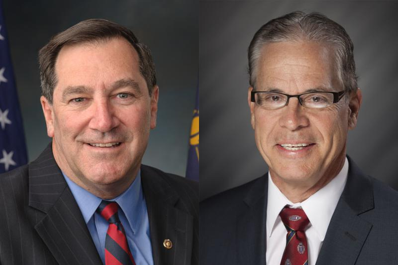 Sen. Joe Donnelly (D-Ind.), left, and Republican challenger Mike Braun, right, both seek to assure seniors they'll protect Medicare and Social Security. (U.S. Senate/Indiana House of Representatives)