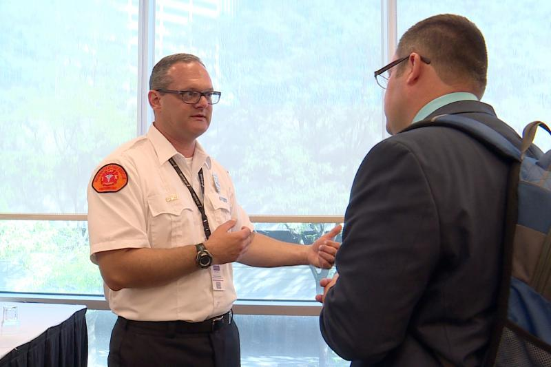 Brandon Dreiman led a session on mental health at the annual Indiana Emergency Response Conference. (Jill Sheridan/IPB News)