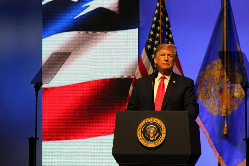 President Donald Trump speaks at the annual FFA convention in Indianapolis. (Samantha Horton/IPB News)
