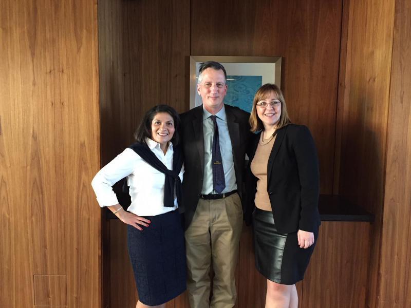 Dr. Maria Carrillo, Dr. Bruce Lamb and Dr. Liana Apostolova investigators with the LEADS trial. (Jill Sheridan/IPB News)