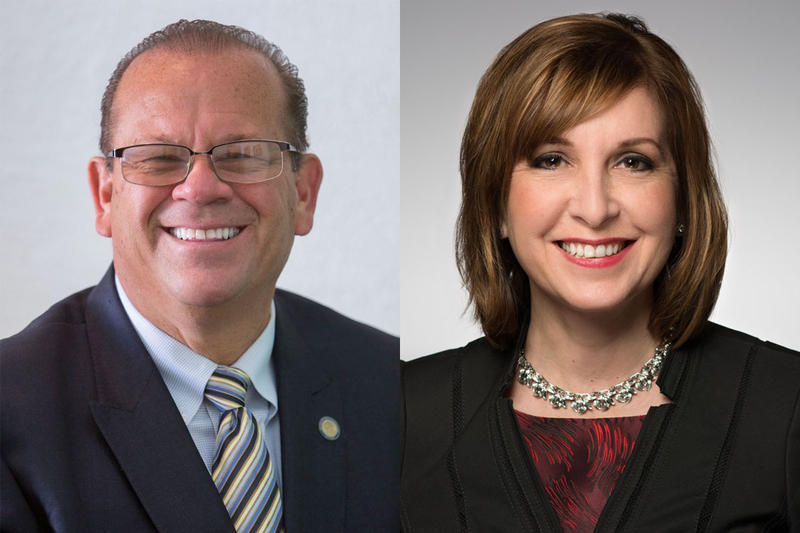 Democrat John Aguilera (left) and incumbent Republican Kelly Mitchell are running for Indiana's Treasurer of State. (Courtesy of Aguilera for Indiana, in.gov/tos)