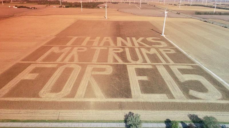 "Benton County Farmer Bruce Buchanan harvests corn to create the message ""Thanks Mr. Trump For E15"" into his field. (Photo provided by Paige Britton and Barry Tolen)"
