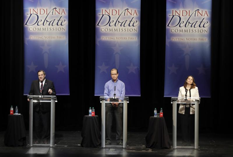 Sen. Joe Donnelly (D-Ind.), left, Republican Mike Braun, center, and Libertarian Lucy Brenton, right, debate for the second and final time in Indiana's 2018 U.S. Senate race. (Photo courtesy of Indiana Debate Commission, Darron Cummings/AP)