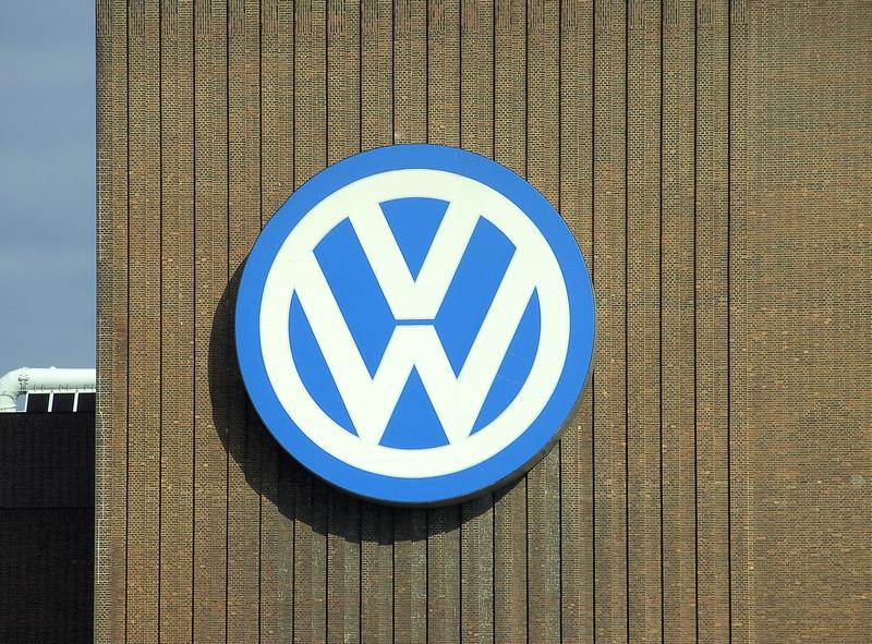 The Volkswagen logo on the power station of the Volkswagen factory in Wolfsburg, October 2006 (Volkswagen/Wikimedia Commons)