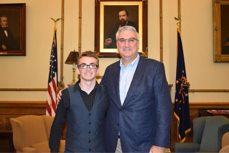 Joshua Christian and Gov. Eric Holcomb. (Photo provided by Connected by 25)