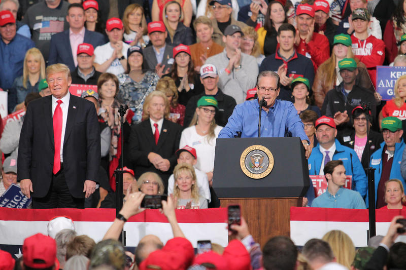 Republican U.S. Senate candidate Mike Braun rallies with President Donald Trump in Indianapolis. (Lauren Chapman/IPB News)
